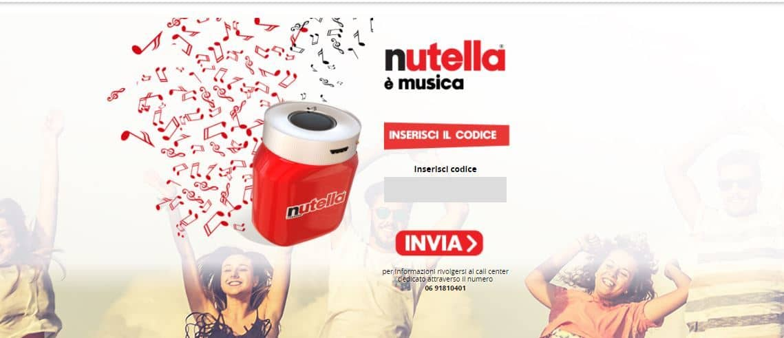 Speaker Bluetooth in omaggio con Nutella