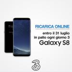 Chi effettuerà fino al 31 luglio una ricarica online di qualsiasi importo dal sito ricarica3.tre.it o app Area Clienti 3 avrà diritto a partecipare a un'estrazione giornaliera e così vincere uno tra i tre Samsung Galaxy S8 messi in palio.