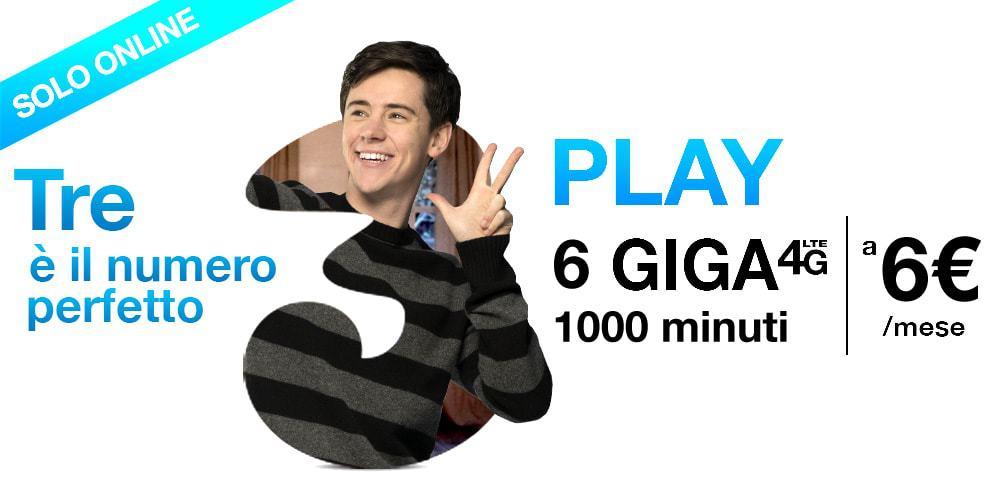 1000 minuti+6GB al mese a 6 euro con TRE