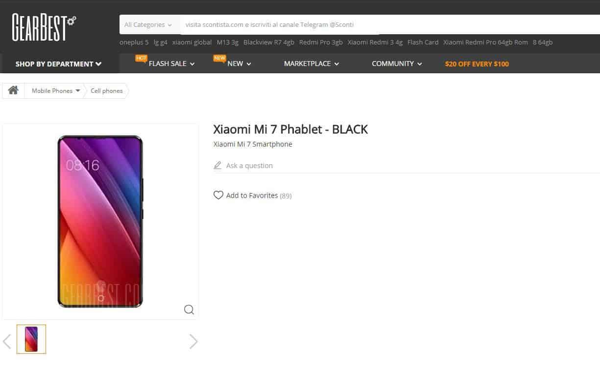 Xiaomi Mi 7 appare su Gearbest
