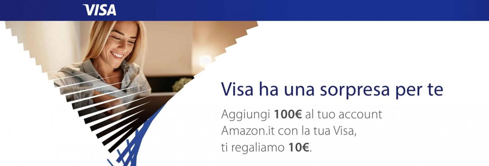 Amazon regala 10 euro se ricarichi 100 con carta Visa