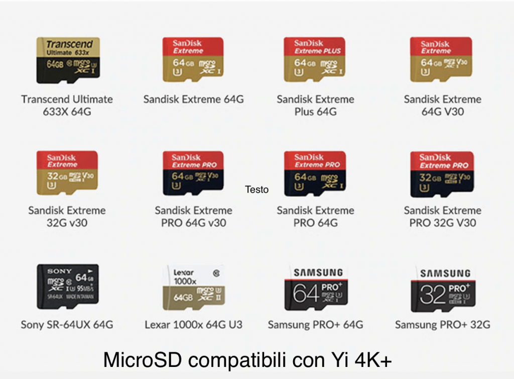 MicroSD compatibili yi 4k plus