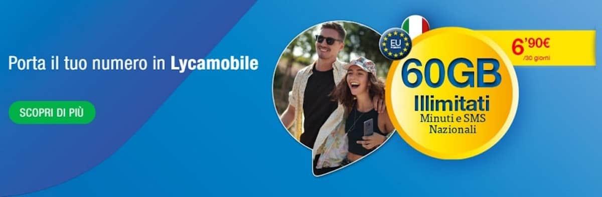 Lycamobile: minuti+SMS illimitati+60GB a 6,90€/ mese