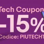 eBay - Sconto del 15% con il codice PIUTECH15