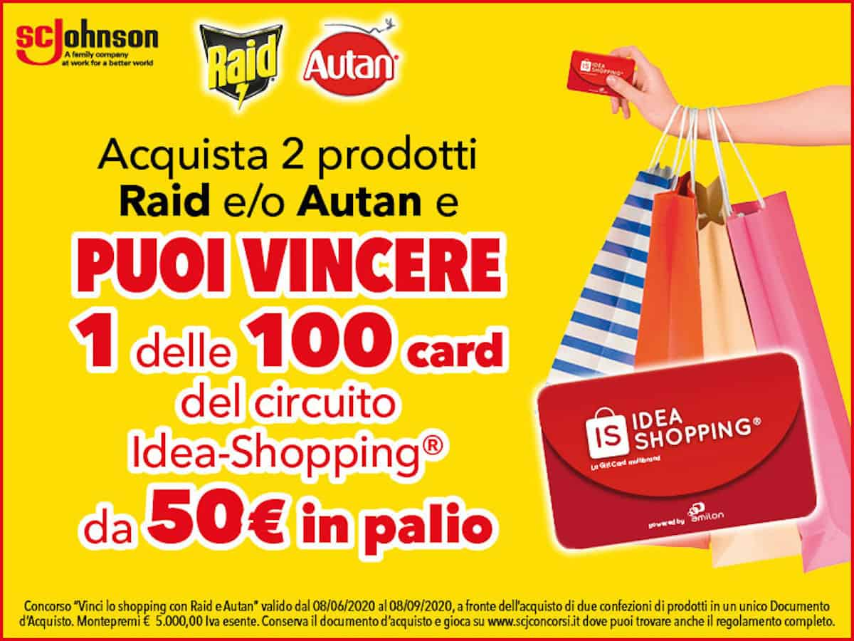 Concorso Raid e Autan in palio 100 gift card idea shopping da 50 euro