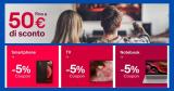 """eBay Codice Sconto """"BACKTOTECH"""": approfitta di sconti fino a 50€ su smartphone, notebook e TV,"""